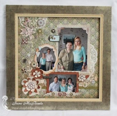 Панно в раме в технике скрапбукинг Framed scrapbook page. Basic Grey. Green.