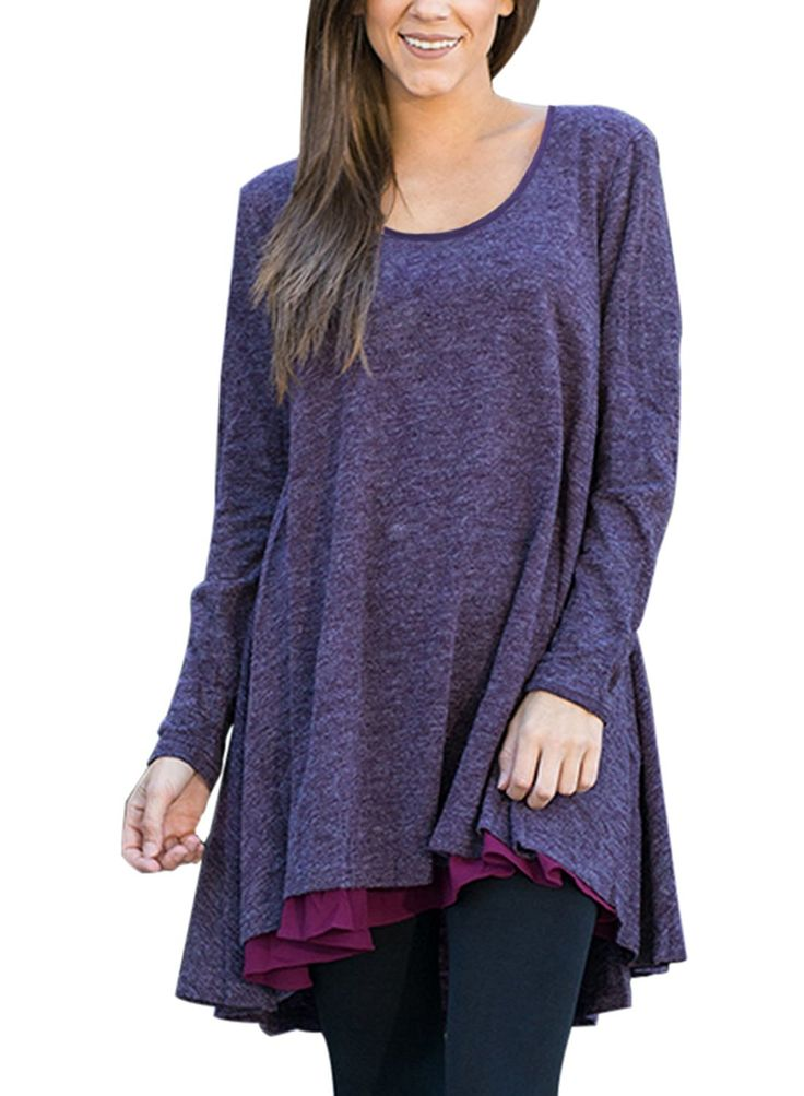 Cyerlia Fashion Loose Fitting Fall Long Tops For Women 2017 Tunic Tops For Leggings For Women Purple Large at Amazon Women's Clothing store: