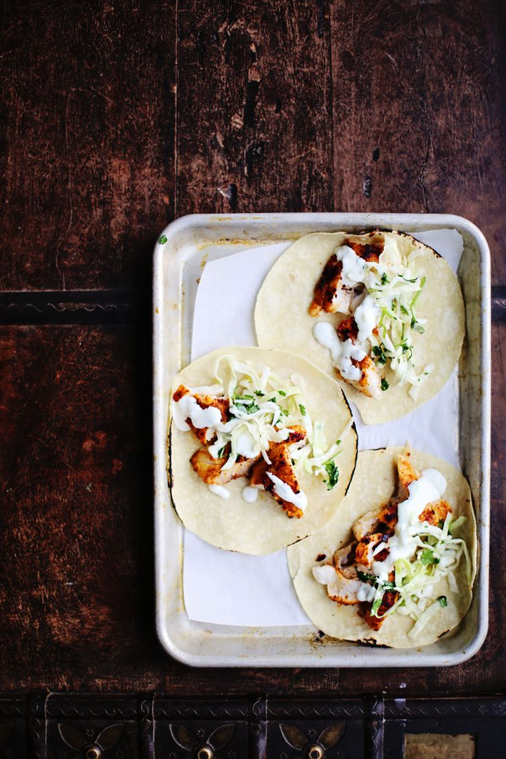Snapper Tacos 1 Spicy Fish Tacos with Cabbage Slaw + Lime Crema