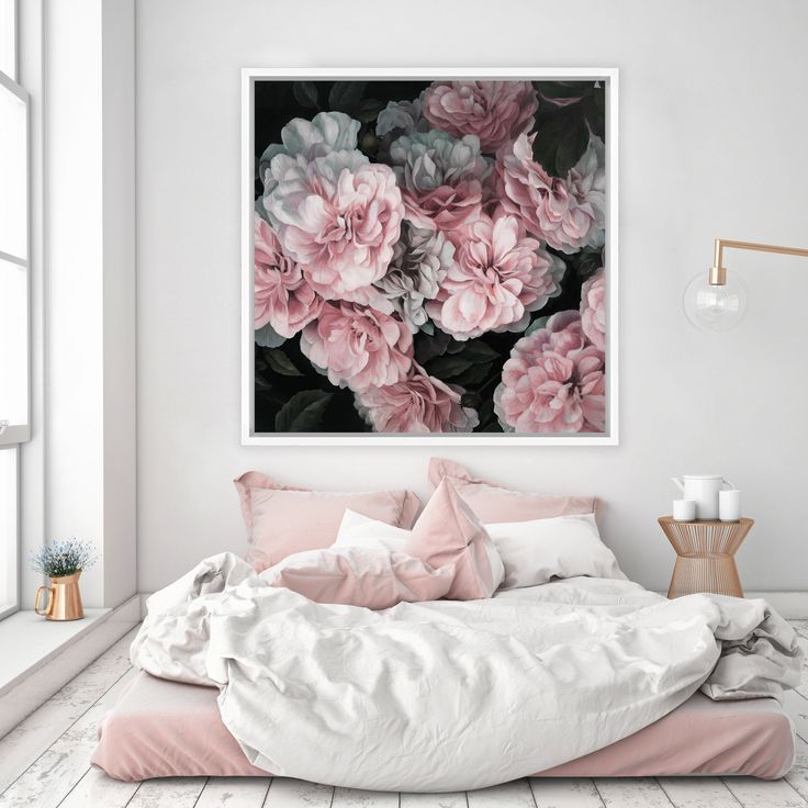 Pink Blooms Canvas  Square   Bedroom PaintingsBedroom. Best 25  Artwork above bed ideas on Pinterest   Bedroom wall art
