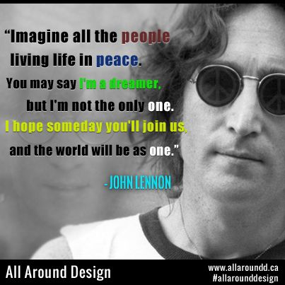 #John #Lennon picture with #quote from #famous song #image.