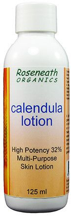 Roseneath Organics Calendula Lotion - 125ml  Roseneath Organics Calendula Lotion contains 32% Organic Whole Flower Extract!  Compare with other well know brands that only contain 4-5%.  A light and highly antioxidant lotion that is generally suitable for use on the hands, the body or on the face.  Suitable for babies.  Calendula flower infused oils have proven very successful on mild burns, scars, grazes, sun damage, eczema, dermatitis, rashes and small wounds.
