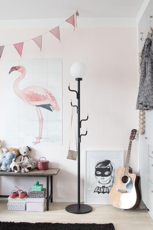 Liv's bedroom with the 'Big Darling floor lamp' by Swedish Ninja. Photo: Niki Brantmark / My Scandinavian Home