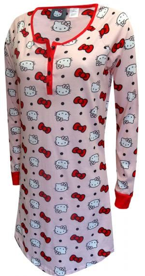 Hello Kitty Faces And Bows Pink Night Shirt
