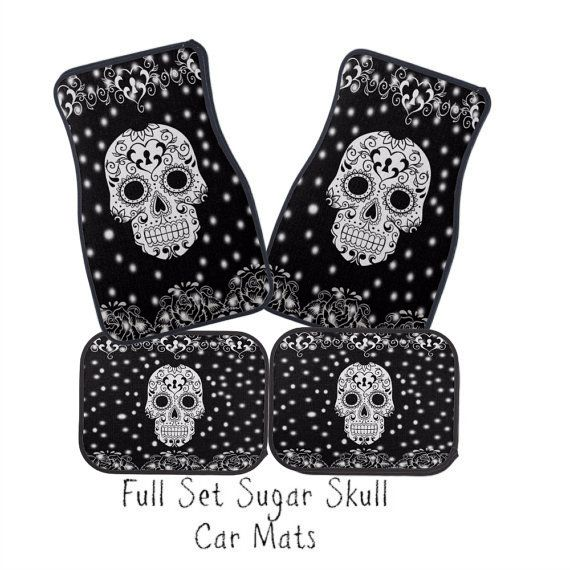 Car Mats Sugar Skull Black and White Full Set by FolkandFunky