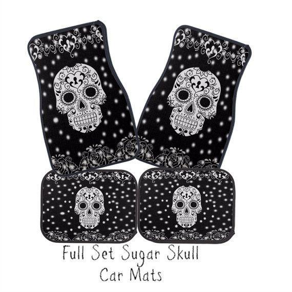 Car Mats Sugar Skull Black and White Full Set by FolkandFunky