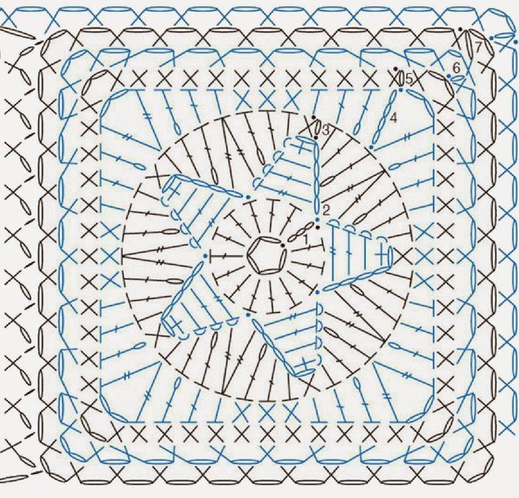 Moje tvořeníčko...: Háčkovaný čtvereček s hvězdou