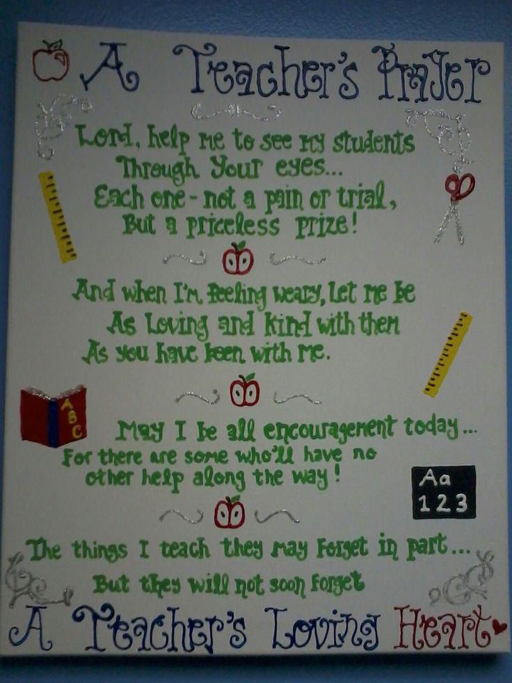 A Teacher's Prayer - made this yesterday