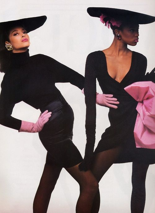 1987 - Christy Turlington &  Naomi Campbell in YSL Rive Gauche in Vogue