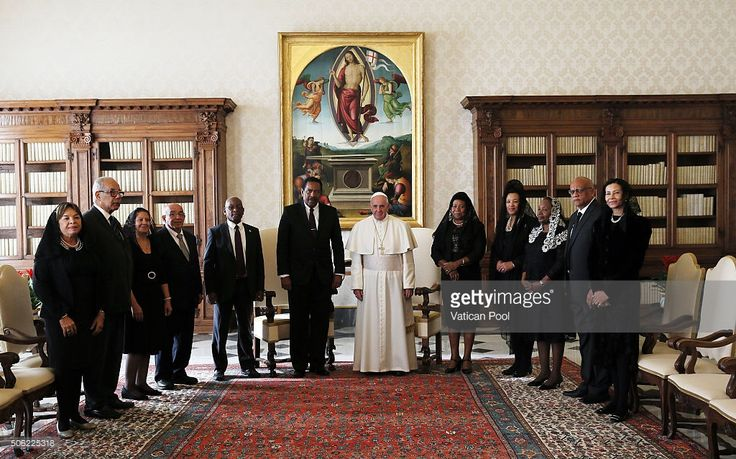Pope Francis meets President of the Commonwealth of Dominica Charles Angelo Savarin, his wife Clara J. Savarin and their delegation at the Apostolic Palace on January 22, 2016 in Vatican City, Vatican.