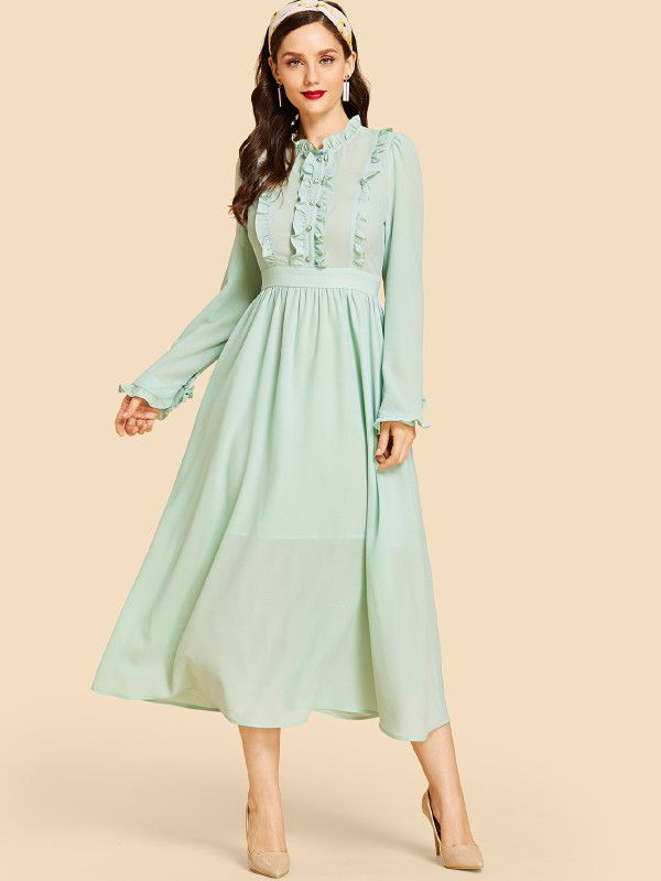 a009452aef Leg-of-mutton Sleeve Buttoned Dress -SheIn(Sheinside) | Casual ...