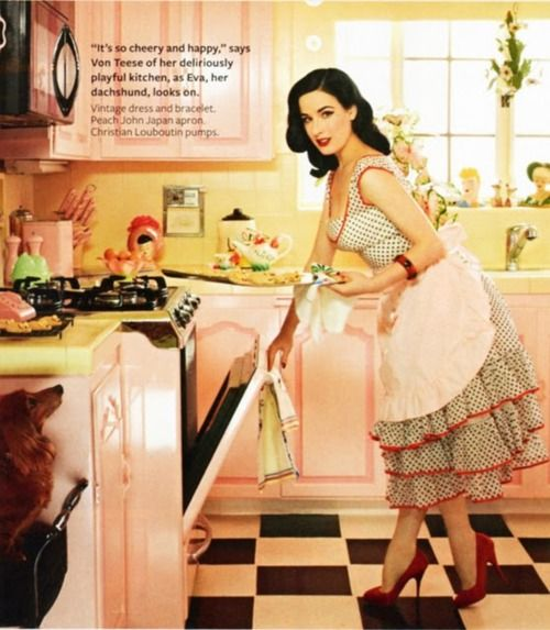 Dita's pink kitchen with the checkerboard floor.  Nice! #ditavonteese