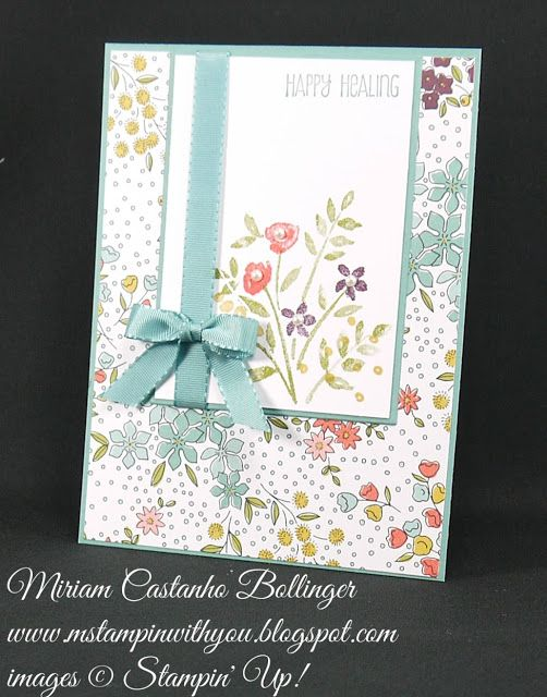 Miriam Castanho Bollinger, #mstampinwithyou, stampin up, demonstrator, dsc, get well, wildflower fields dsp, number of years stamp set, and many more stamp set, su