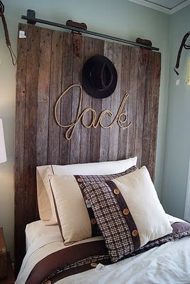 Rope name - so cute for a boy's room.: Doors Headboards, Barn Doors, Headboards Ideas, Boys Rooms, Boy Rooms, Barns Doors, House, Little Boys, Kids Rooms
