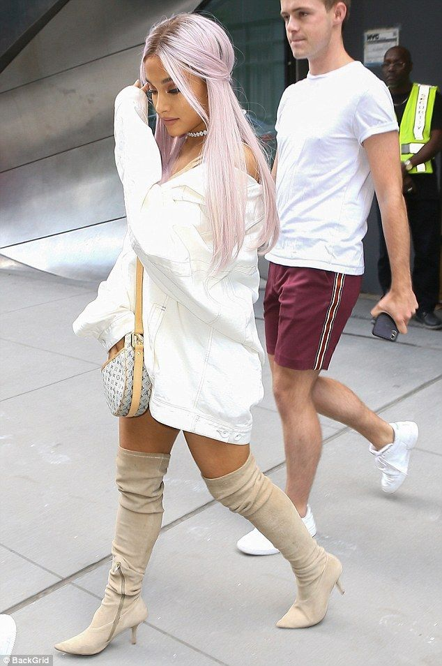 3b7950362 Ariana Grande debuts new purple tresses as she steps out in New York ...