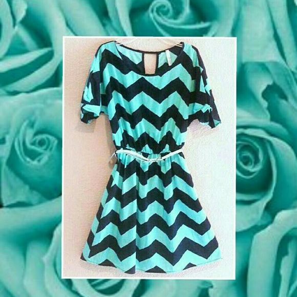 Tiffany Blue & Navy Chevron Dress S Tiffany Blue & Navy Chevron Dress size Small. Keyhole back. Excellent condition. The dress is not made of cotton, but silky for a princess! Throwing in the skinny belt for free. Dresses