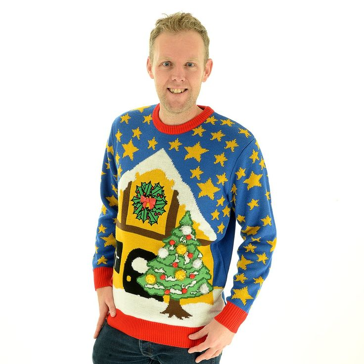 Starlight Xmas - Light Up Christmas Jumper Sweater. The light up Christmas Jumper that will dazzle even the most daring ugly Christmas jumper fans. The powerful and bold colours of the starry sky, set the winter scene for the log cabin and outdoor lighted Christmas tree.