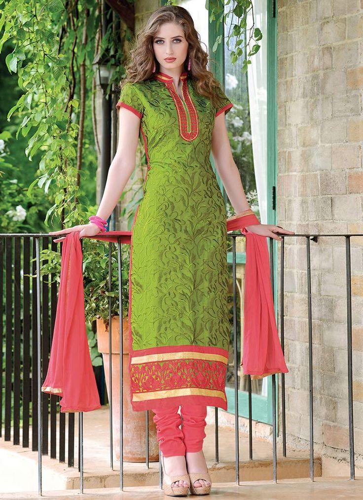 Pistachio Green Chanderi Silk Straight Suit