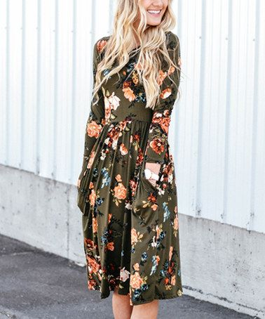 Another great find on #zulily! Olive Floral Pocket Midi Dress #zulilyfinds