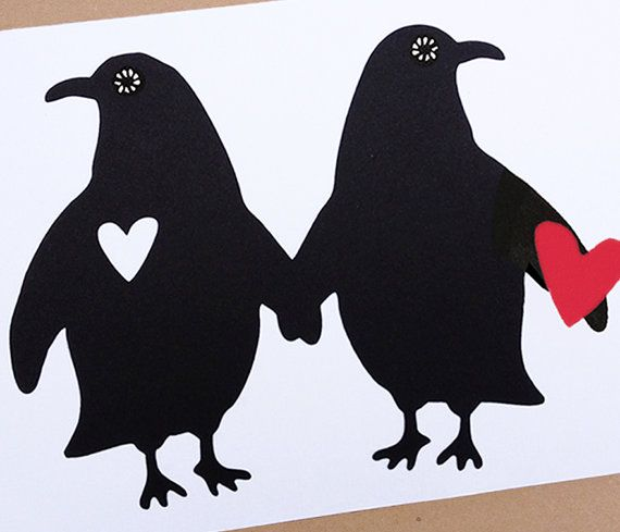Silhouet Penguins Papier Gesneden Silhouet Twee Harten