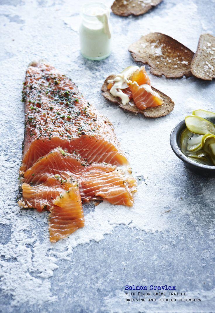Salmon gravlax with Dijon crème fraiche dressing and pickled cucumbers