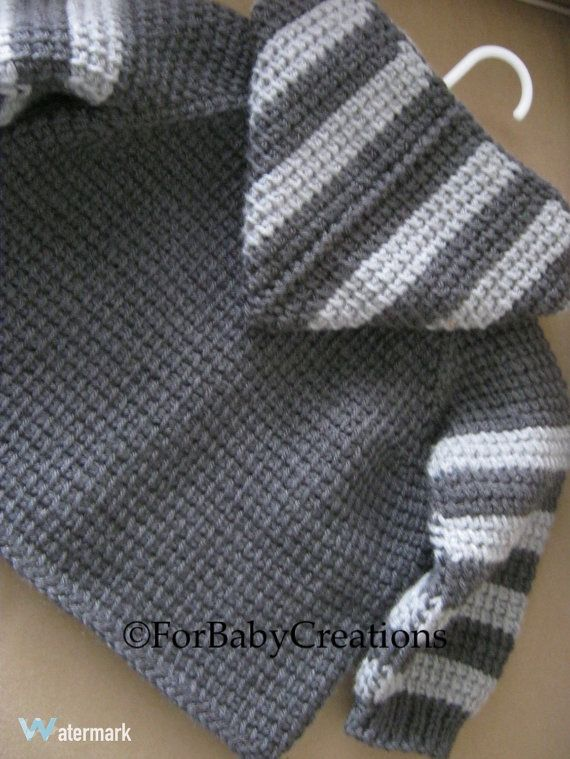 Crochet Baby Boy Sweater with Hood Dark Grey by ForBabyCreations