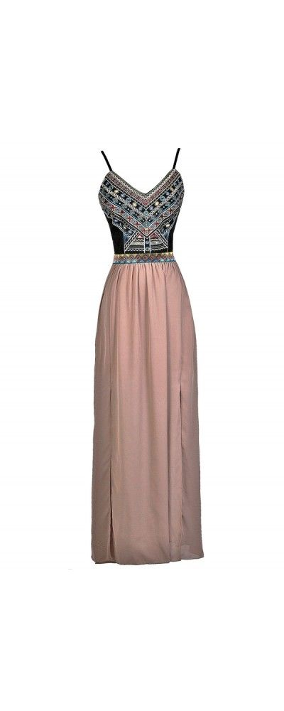 Lily Boutique Cheerful Embroidery Maxi Dress in Black/Mocha