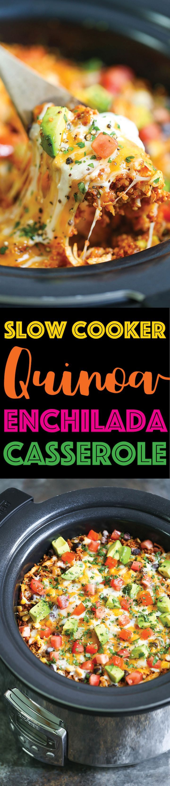 Slow Cooker Quinoa Enchilada Casserole - SKINNY, lightened up and healthy enchilada bake!!!! Made right in the crockpot!!! So cheesy and yet guilt-free!!!