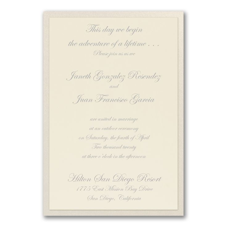 sample spanish wedding invitations%0A Keep it simple  yet fancy with this beautiful ecru invitation  The top card  fits nicely on a shimmering backer card
