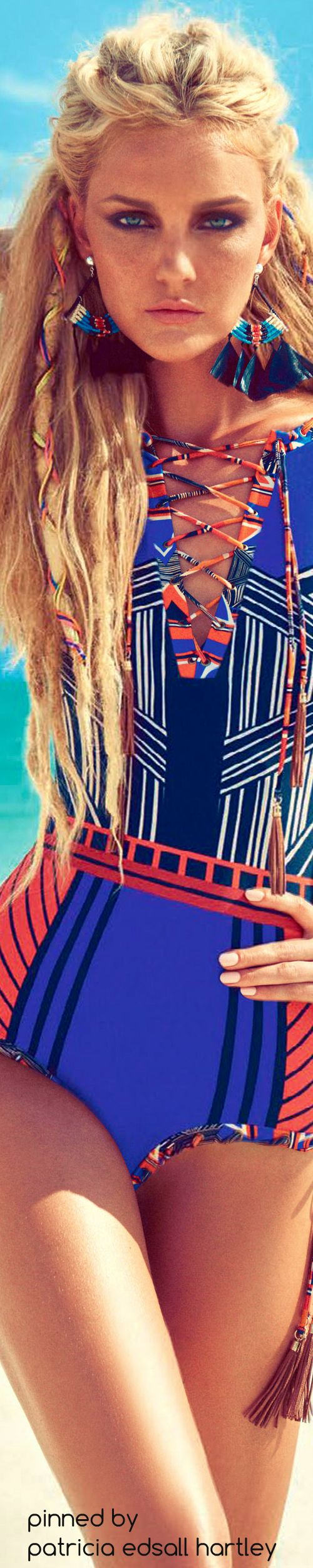 Vogue Brazil November 2015 Model: Caroline Trentini bohemian fashion lace up #Unique_Boho_Style