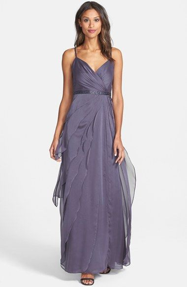 Adrianna Papell Tiered Chiffon Gown Available At