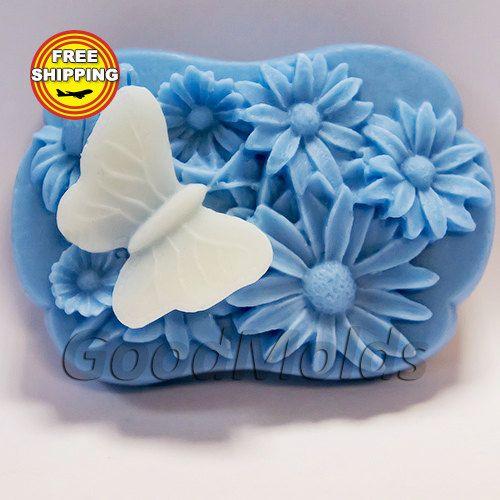 Daisy en vlinder schimmel zeep schimmel siliconen mallen schimmel voor zeep mal bloemen mal silicone mal gratis verzending