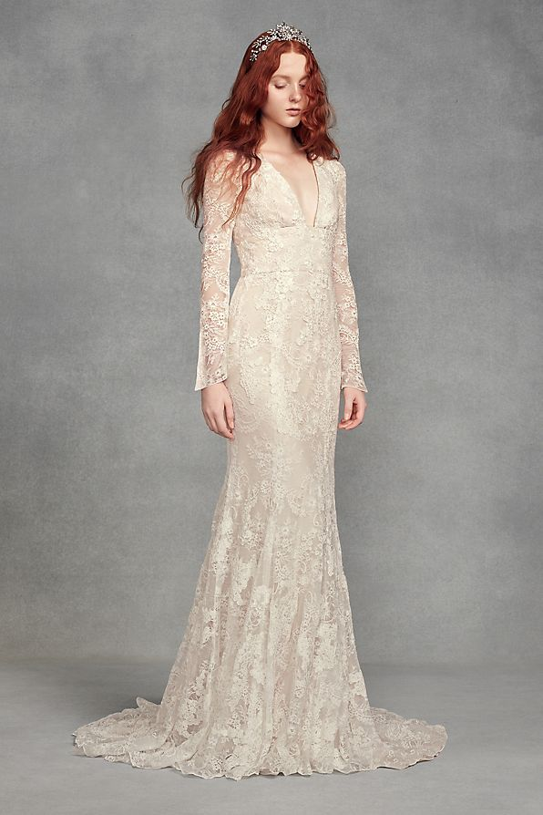 fc1d256c8f7c White by Vera Wang Bell Sleeve Lace Wedding Dress Style VW351428 ...