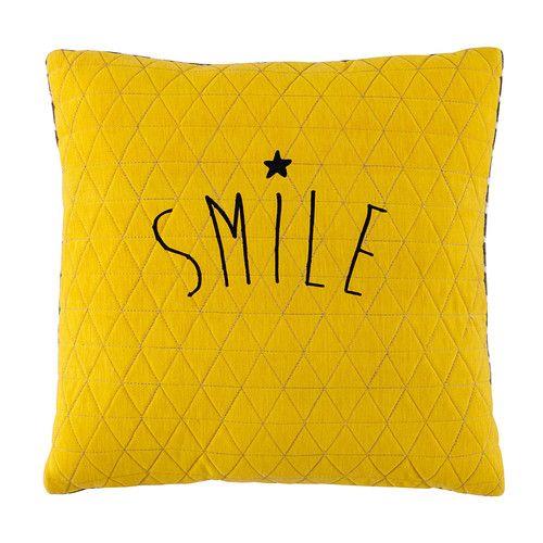 Smile - Kissen gelb/grau 40 x 40 cm