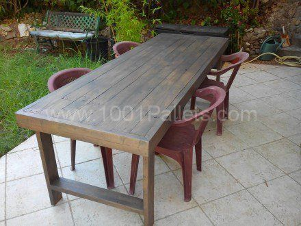 Table de jardin en palettes pallets garden table for Table jardin palette