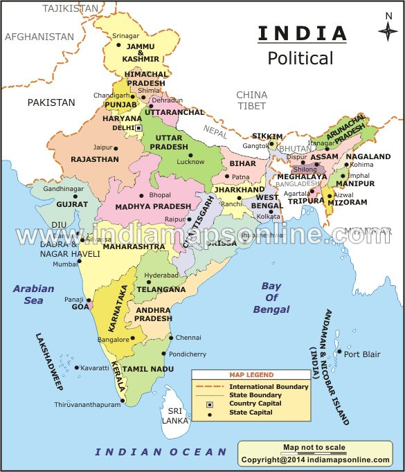 Political Map of India gives the details of 29 states and ...