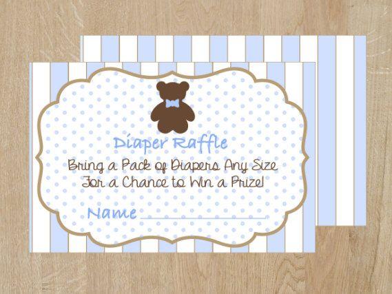 Boy diaper raffle ticket, Teddy bear baby shower, Printable Raffle Tickets, blue baby shower diaper raffle ticket, Diaper Raffle cards by WildSugarberries on Etsy https://www.etsy.com/listing/201737026/boy-diaper-raffle-ticket-teddy-bear-baby