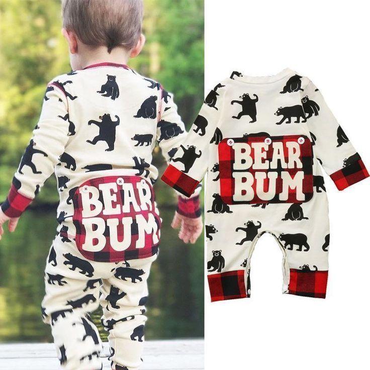 Newborn Baby Boys Long Romper Bodysuit Jumpsuit Pants Hat Outfits Set Clothes