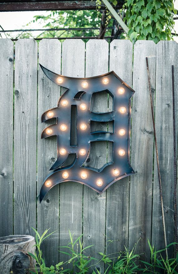 Vintage Marquee Sign  Detroit Tiger's D  Handmade in