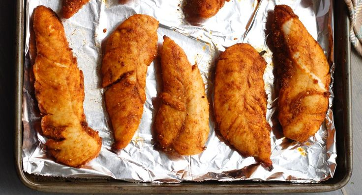 baked chicken taco fingers with taco seasoning mix + cornmeal