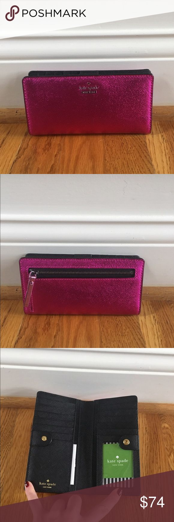 ❗️SALE❗️$100 Kate Spade wallet New with tags $100 Kate Spade Stacy wallet in Cameron street metallic bajsrose// brand new, perfect condition// never worn before kate spade Bags Wallets