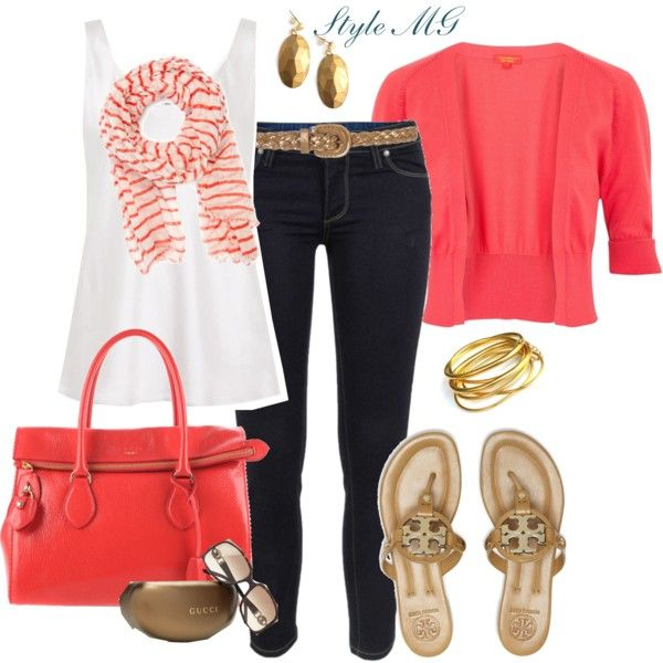 Color me coral casualClosets, Beautiful, Colors Schemes, Coral Casual, Casual Outfits, Dark Jeans, Casual Looks, Casual Coral, Style Fashion