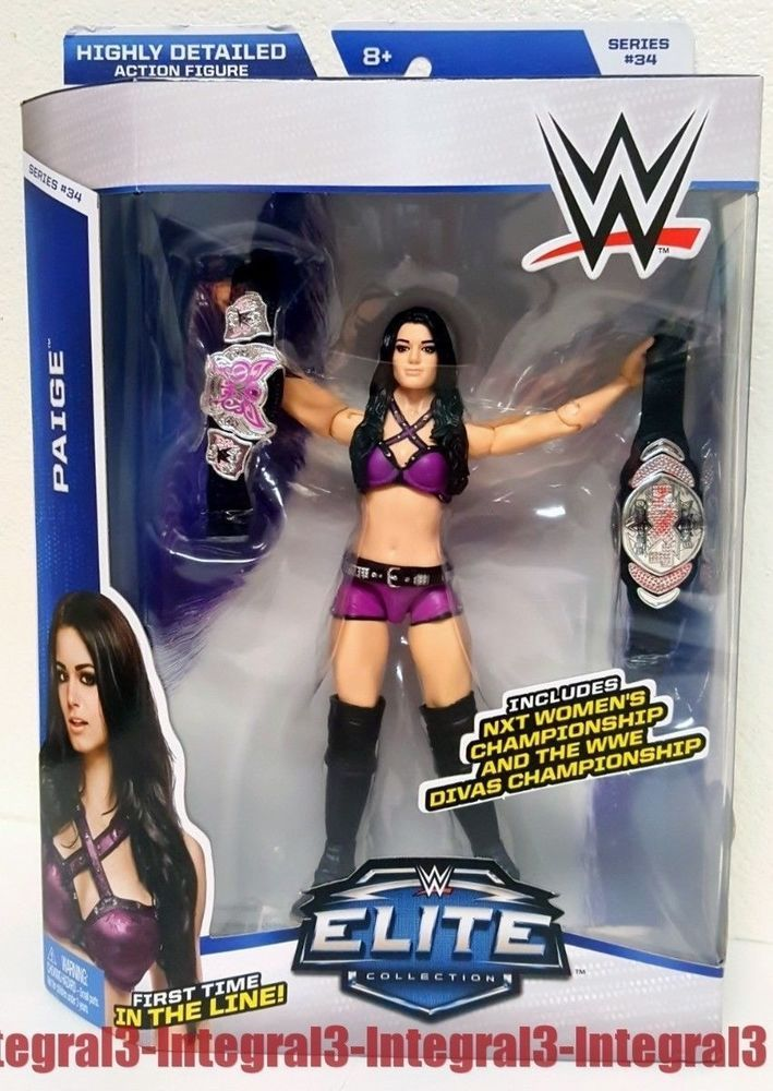 WWE Mattel Elite PAIGE Wrestling Figure w 2 Belts NXT Total divas Series 34 #Mattel