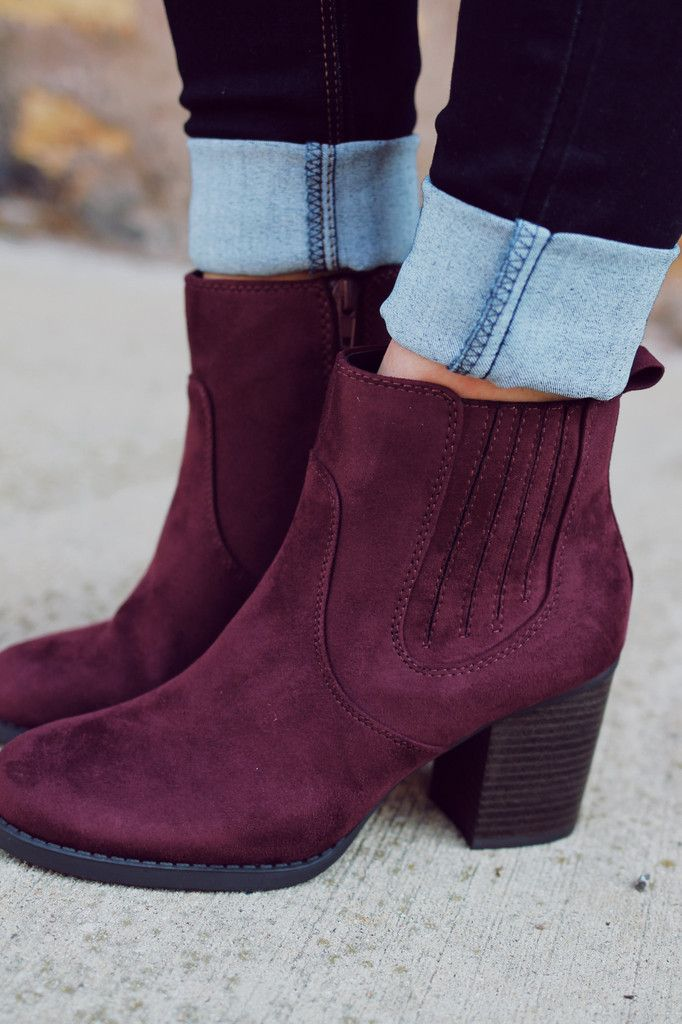 Plum Elastic Sides Stacked Heel Bootie INDEED-S – UOIOnline.com: Women's  Clothing