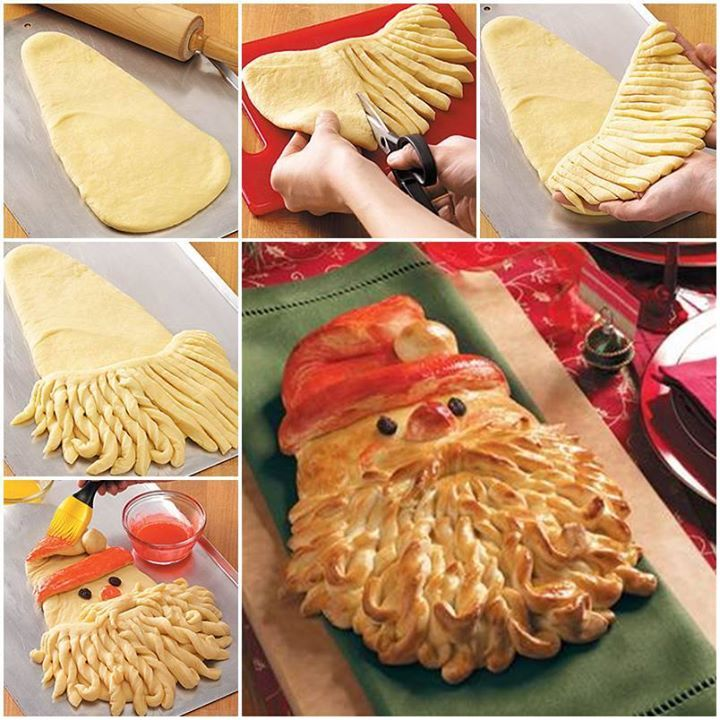 Golden Delicious Santa Bread!   Ingredients: 4 to 4-1/2 cups bread flour 1/2 cup sugar 2 packages (1/4 ounce each) active dry yeast 1-1/2 teaspoons salt 1/2 cup milk 1/4 cup water 1/4 cup butter, cubed 2 eggs 2 raisins 2 egg yolks 2 to 3 drops red food coloring  Instructions: You will need a large bowl.   Combine 2 cups flour, sugar, yeast and salt.  Heat the milk, water and butter to 120°-130° in a small saucepan.  Add to dry ingredients. You need to beat just until moistened.  Beat in the…