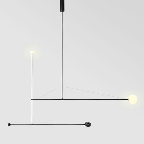 kinetic lamps/mobile chandeliers by Michael Anastassiades, exhibited at V Museun in Lodon.