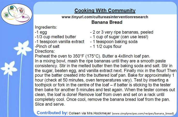 Cooking with Community -    Banana Bread recipe contributed by Colleen Dell via Mrs. Hockmeyer for the Honouring Our Strengths: Indigenous Culture as Intervention in Addictions Treatment (HOS:CasI) project