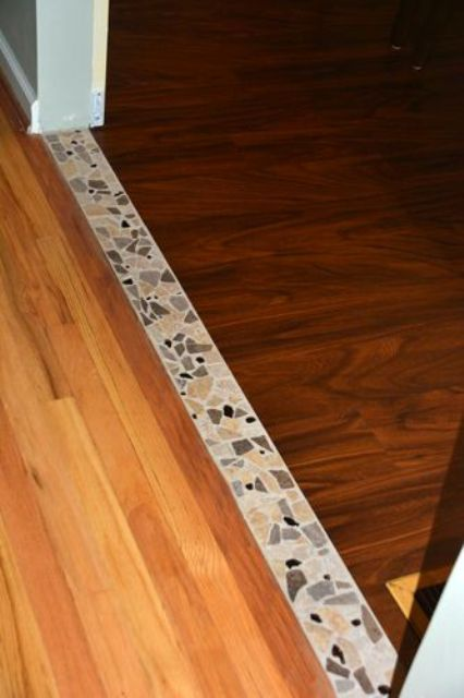 12 Accent tile transition between the hardwood in the dining room and the  vinyl planking in the kitchen - DigsDigs. Transition Flooring ... - Best 25+ Transition Flooring Ideas On Pinterest Dark Tile Floors