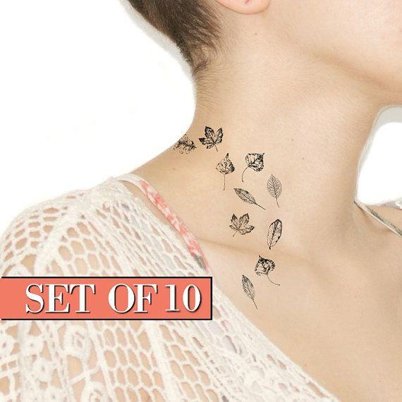 Tiny Temporary Tattoo - Fall leaves, Black, Accessories, Leaf, Spring NO. V05
