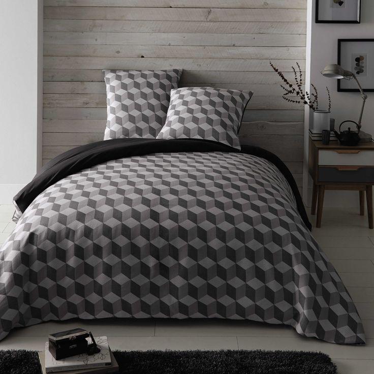 Parure de lit 240 x 260 cm en coton blanche/grise CUBIC   Maisons du Monde